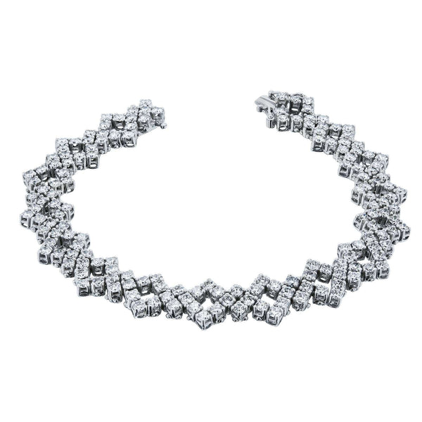 [pre-owned] Square Zigzag Diamond Tennis Bracelet 6 1/2 Carats TW 18k White Gold