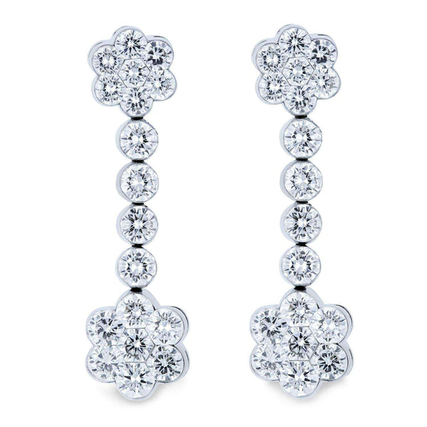 Kobelli [pre-owned] Diamond Drop Flower Earrings 2 9/10 Carats TW 18k White Gold 71473X