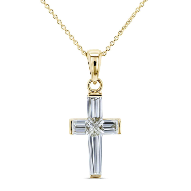 Kobelli Bullet Baguette Diamond Cross Pendant and Chain
