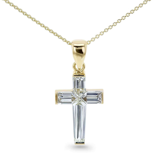 Kobelli Bullet Baguette Diamond Cross Necklace 18k Pendant 14k Chain Yellow Gold (1 3/4 CTW, GH/VS) 71492X