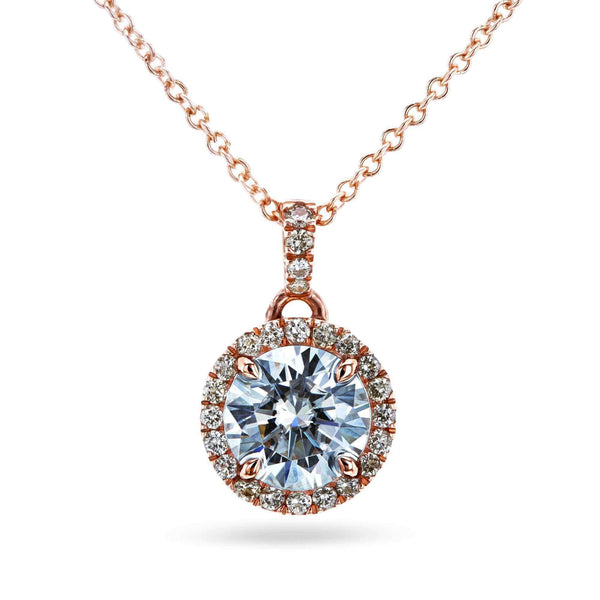 Kobelli Moissanite Light Champagne Diamond Halo Necklace 71510X