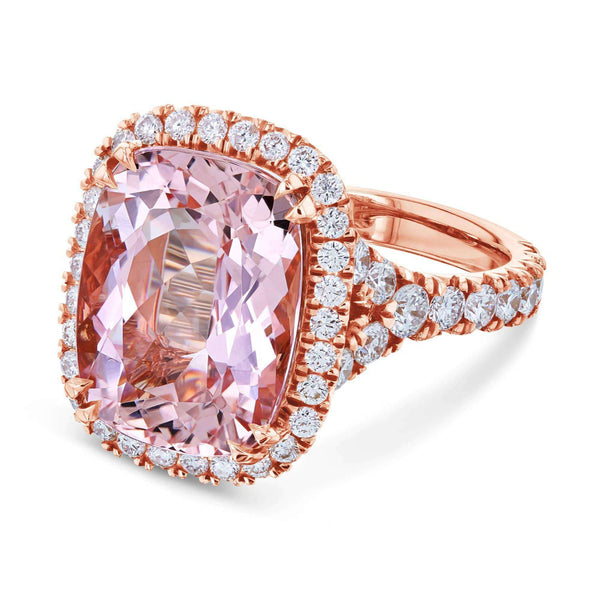 Kobelli Cushion Morganite Diamond Halo Cocktail Ring