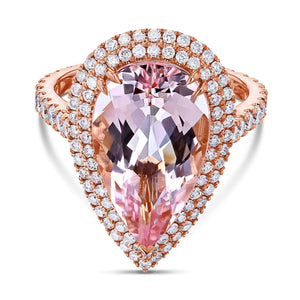 Kobelli Pear Premium Morganite Diamond Halo Cocktail Ring