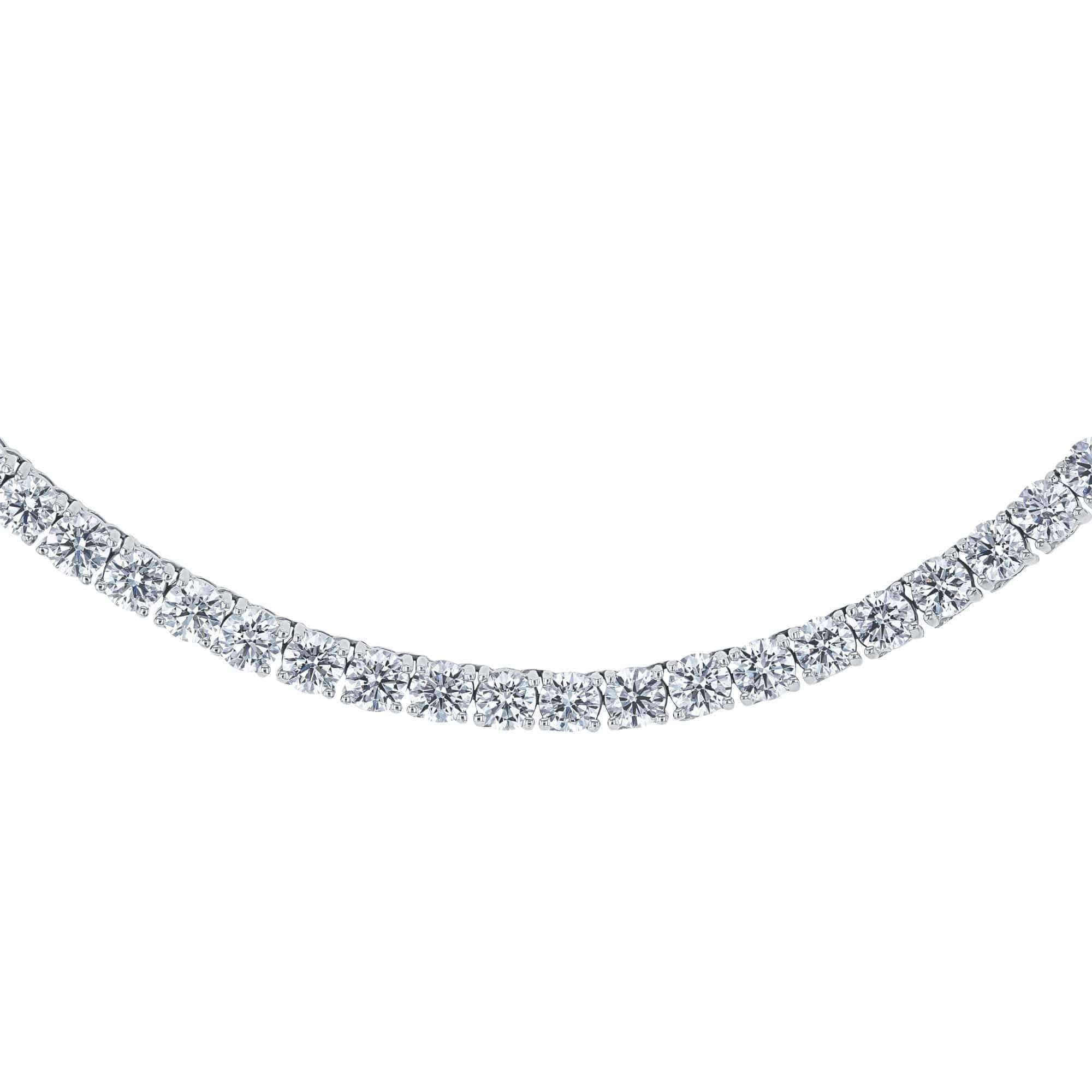 Lab Grown Diamond 28.80 Carat Tennis Necklace (IGI Certified)