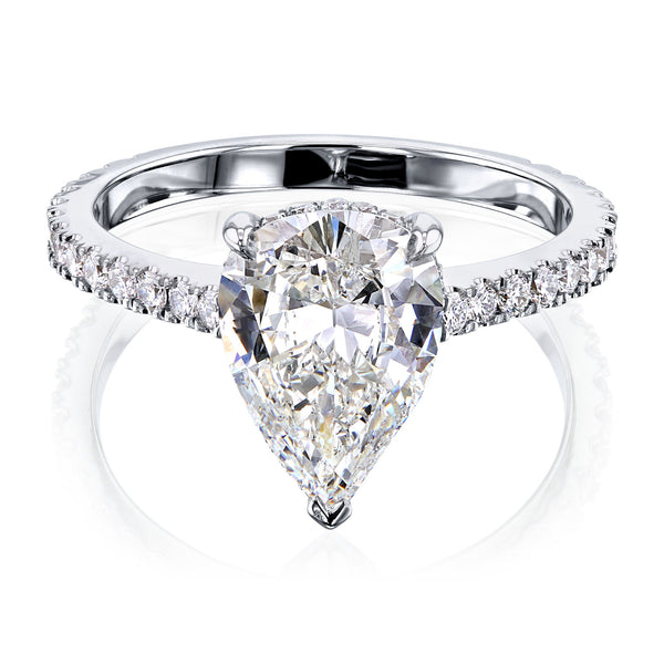 Kobelli The Pear Hidden Halo Diamond Ring (GIA Certified)