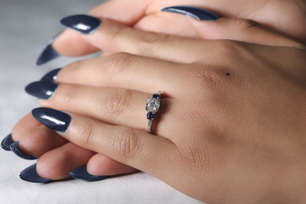 Kobelli Diamond and Blue Sapphire Vintage-Style Engraved Engagement Ring