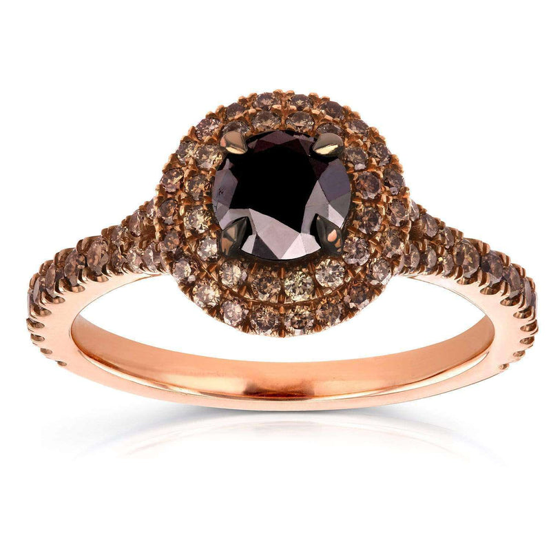 Kobelli 18k Rose Gold Black and Champagne Diamond Double Halo Ring 1 1/2 CTW