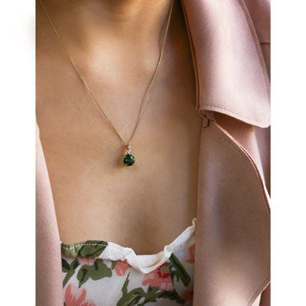 Kobelli Green Tourmaline with Diamonds Adjustable Necklace