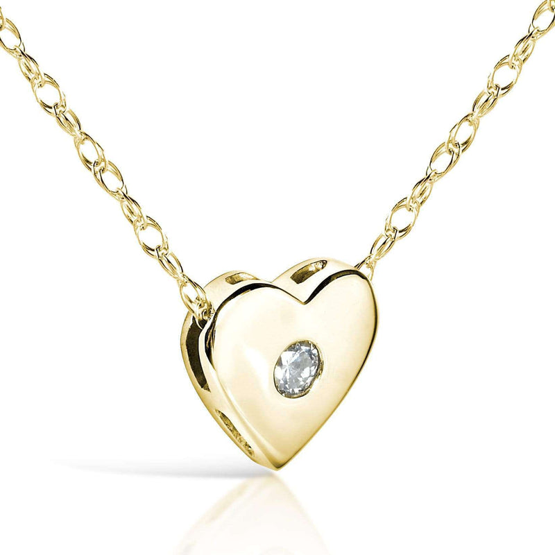 "Kobelli Diamond Bezel Heart Pendant in 14K Yellow Gold (18"" Chain) 7214-Y"