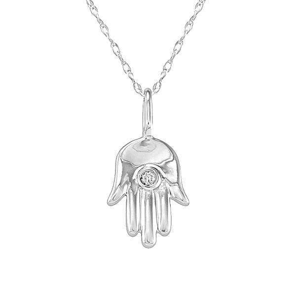 "Kobelli Mini Diamond Hamsa ""Hand of God"" Diamond Pendant in 14K White Gold 7265OJ"
