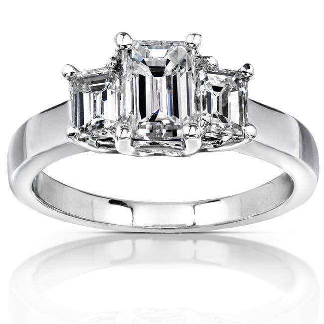 Kobelli Diamond Three-Stone Engagement Ring 1 5/8 carats (ctw) in 14K White Gold (Certified)