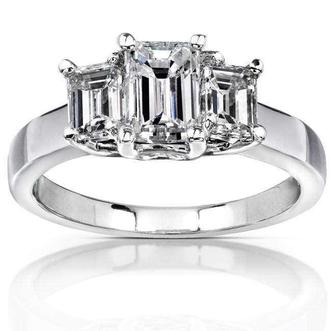 Kobelli Diamond Three-Stone Engagement Ring 1 3/4 carats (ctw) in 14K White Gold (Certified)