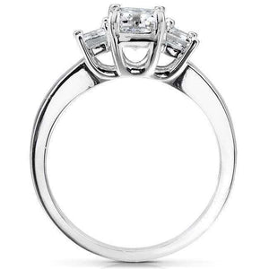 Diamond Three-Stone Engagement Ring 1 3/4 carats (ctw) in 14K White Gold (Certified)