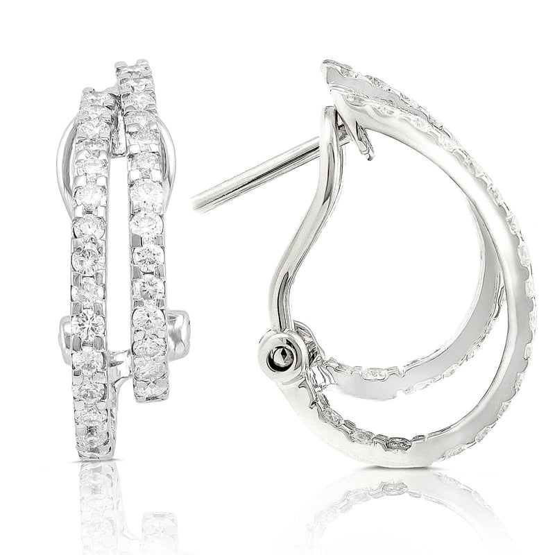 Kobelli Round Diamond Earrings 7/8 Carat (ctw) in 14k White Gold 7634X