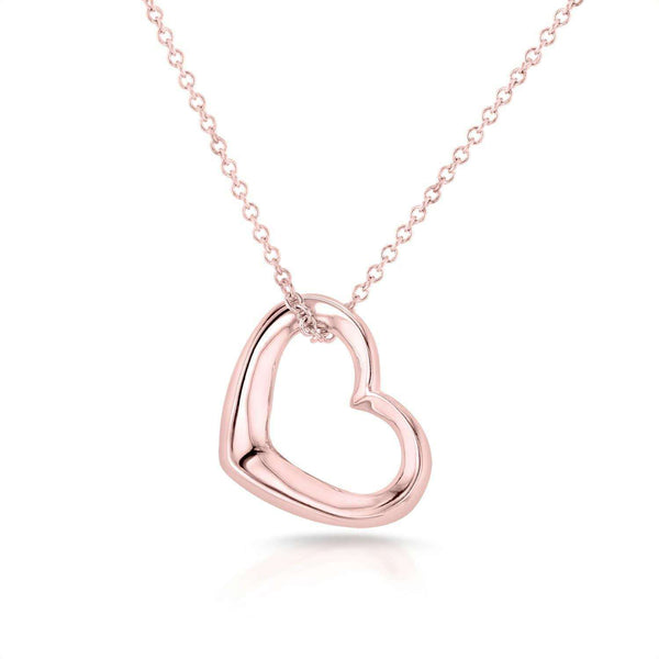 Kobelli Solid Gold Heart Hoop Pendant and Chain 14k Rose Gold 8661R