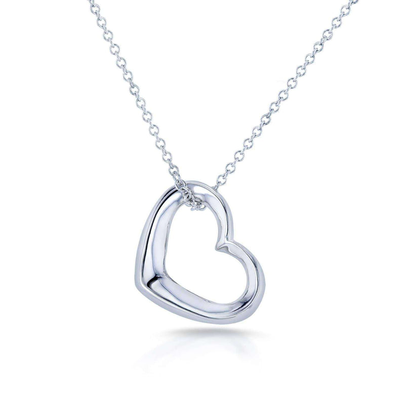 Kobelli Solid Gold Heart Hoop Pendant and Chain 14k White Gold 8661W