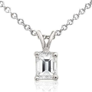 Diamond Solitaire Pendant 3/8 carat in 14K White Gold