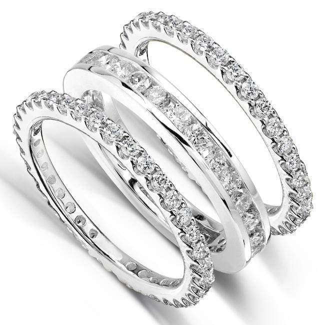 Kobelli Diamond Eternity Bands 2 Carats (ctw) Round-Cut in 14k White Gold (3 Piece Set)