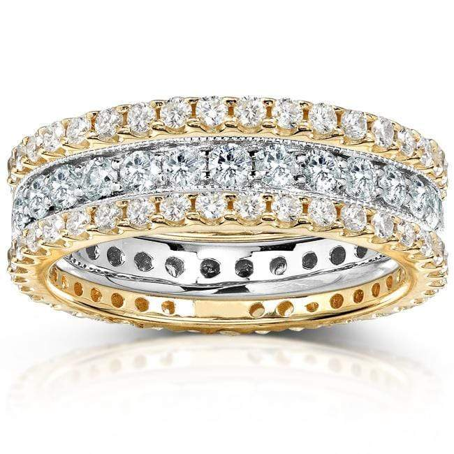 Kobelli Diamond Eternity Bands 2 Carats (ctw) Round-Cut in 14k Gold (3 Piece Set)