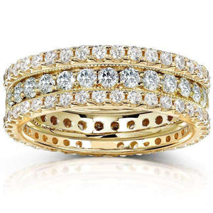 Diamond Eternity Bands 2 Carats (ctw) Round-Cut in 14k Yellow Gold (3 Piece Set)