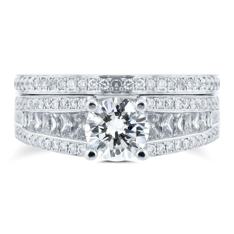 Kobelli Round and Princess Baguette Diamond Bridal Set 1 7/8 CTW in 14k White Gold