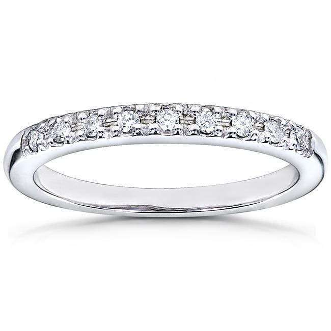Kobelli Round Brilliant Diamond Wedding Band 1/10 Carat (ctw) in 14k White Gold