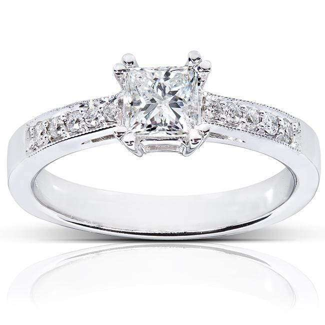 Top Princess Diamond Engagement Ring 3/5 Carat (ctw) in 14K White Gold - 11