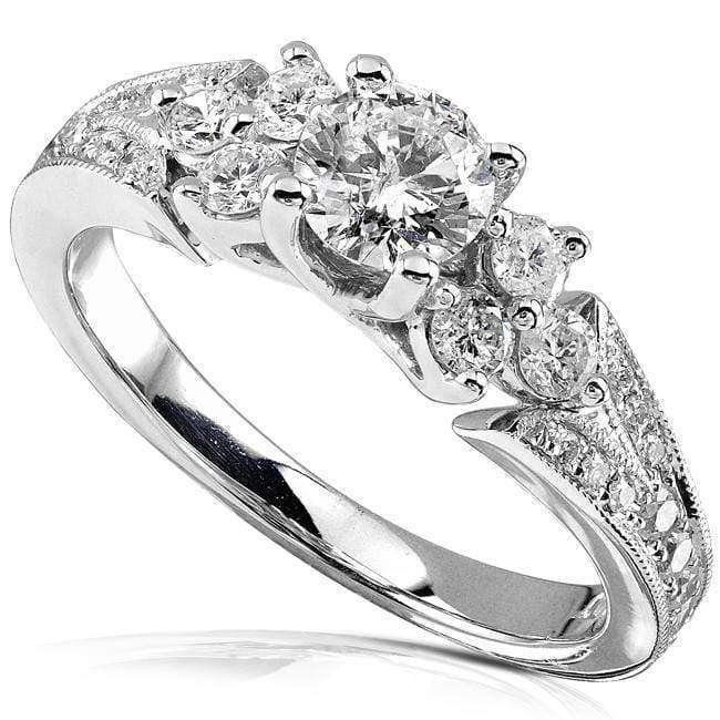 Kobelli Diamond Engagement Ring 7/8 Carat (ctw) in 14K White Gold