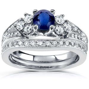 Sapphire & Diamond Accented Bridal Set 1 1/5 CTW in 14K White Gold