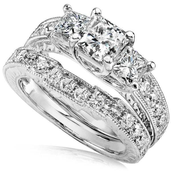 Diamond Wedding Ring Set 1 3/5 carats (ctw) in 14K Gold