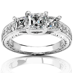 Kobelli Diamond Three-Stone Engagement Ring 1 1/2 carats (ctw) in 14K White Gold (Certified)