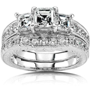 Diamond Wedding Set 1 4/5 carats (ctw) in 14K White Gold (Certified)