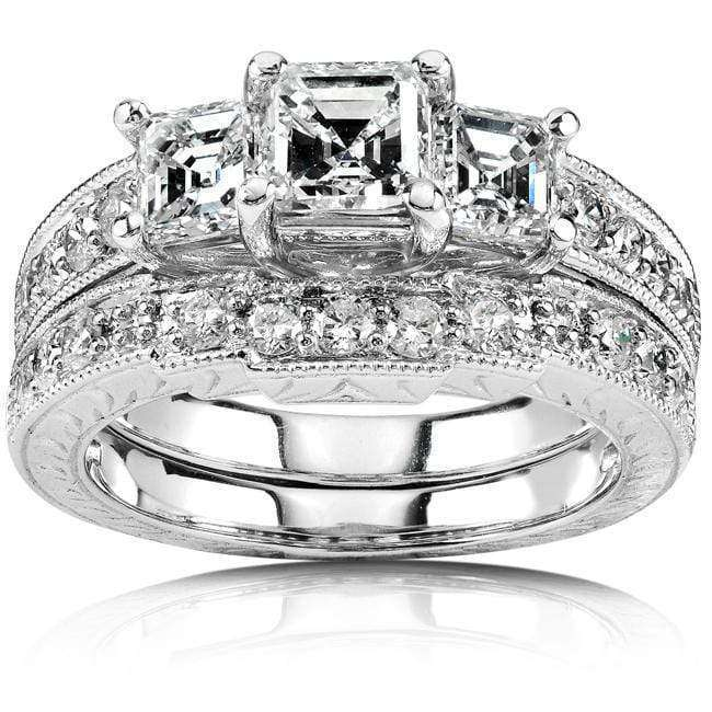 Kobelli Diamond Wedding Set 1 4/5 carats (ctw) in 14K White Gold (Certified)