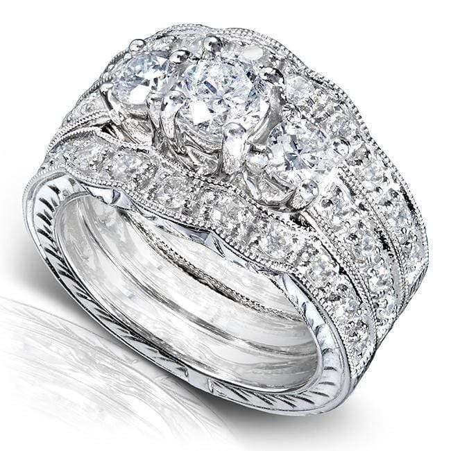 Kobelli Three Stone Round Diamond Bridal Set 1 1/4 carat (ctw) in 14k White Gold (3 Piece Set)