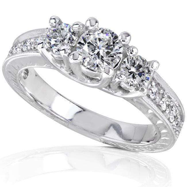 Kobelli Vintage Diamond Three-Stone Engagement Ring 7/8 carat (ctw) in 14K White Gold