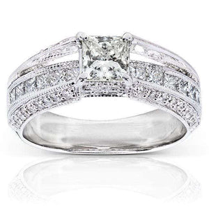 Diamond Engagement Ring 13/4 Carat (ctw) in 14k White Gold (Certified)