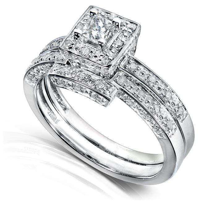 Kobelli Princess Cut Diamond Bridal Set 5/8 Carat (ctw) in 14K White Gold