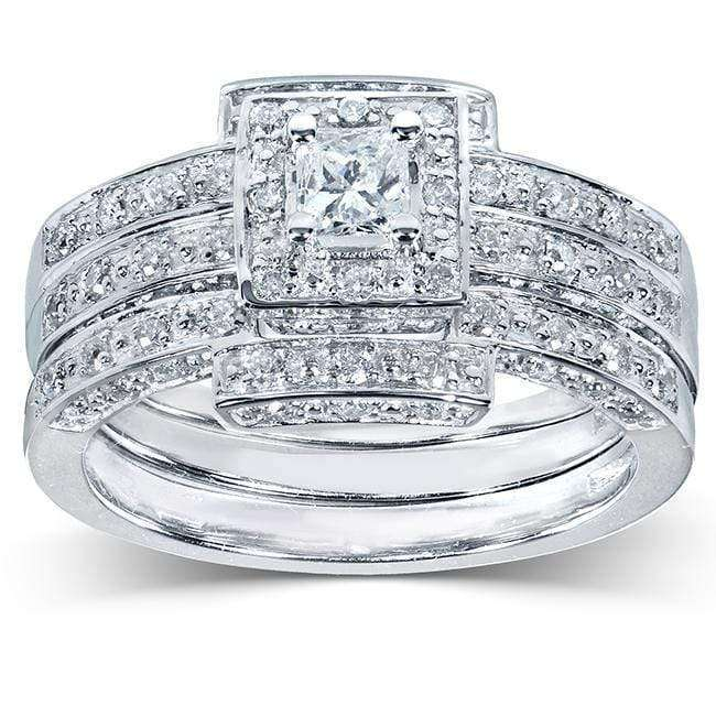 Kobelli Princess Cut Diamond Bridal Set 4/5 Carat (ctw) in 14K White Gold (3 Pieces Set)