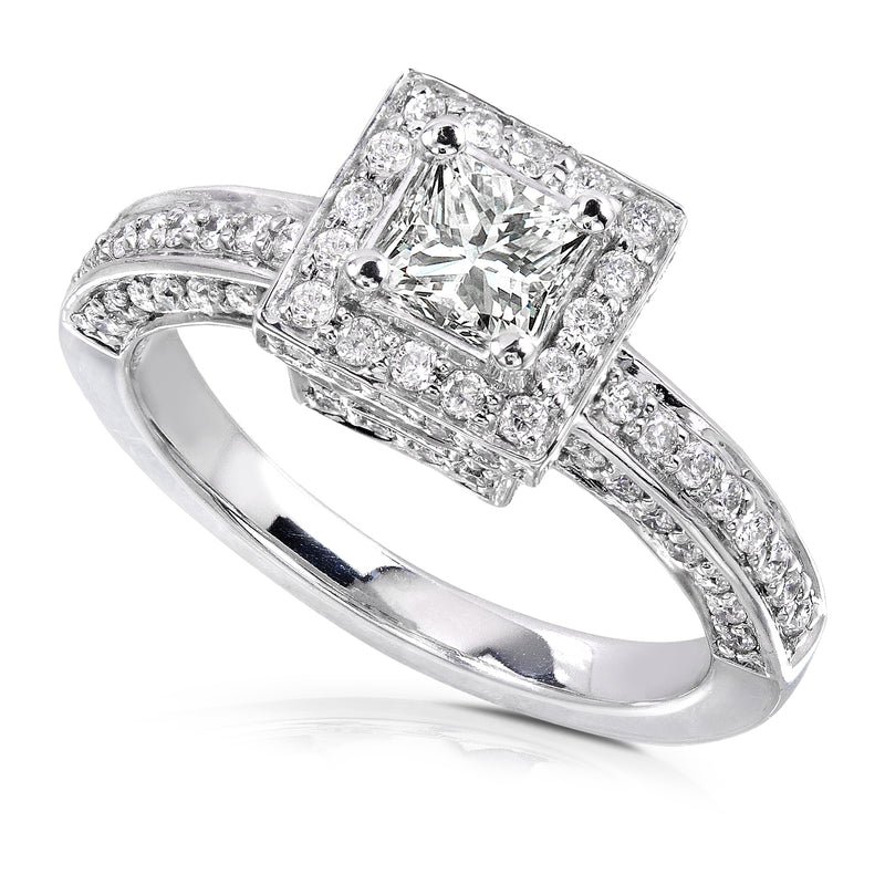 Kobelli Square Diamond Encrusted Engagement Ring