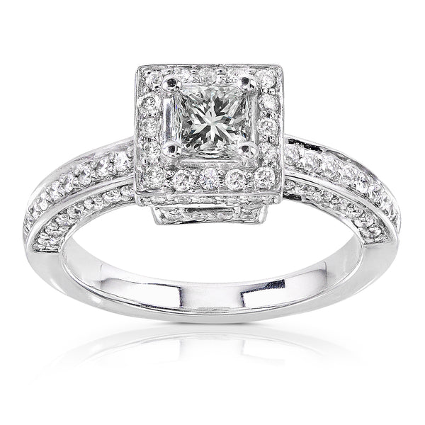 Square Diamond Encrusted Engagement Ring