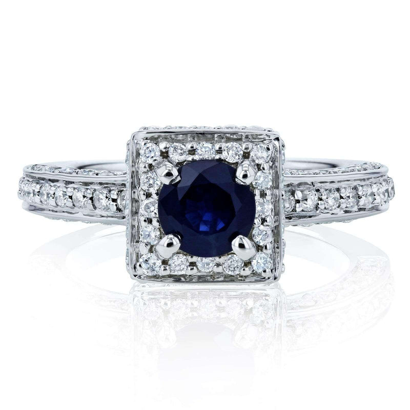 Kobelli Blue Sapphire and Diamond Square Halo Engagement Ring 1 1/4 CTW 14k White Gold