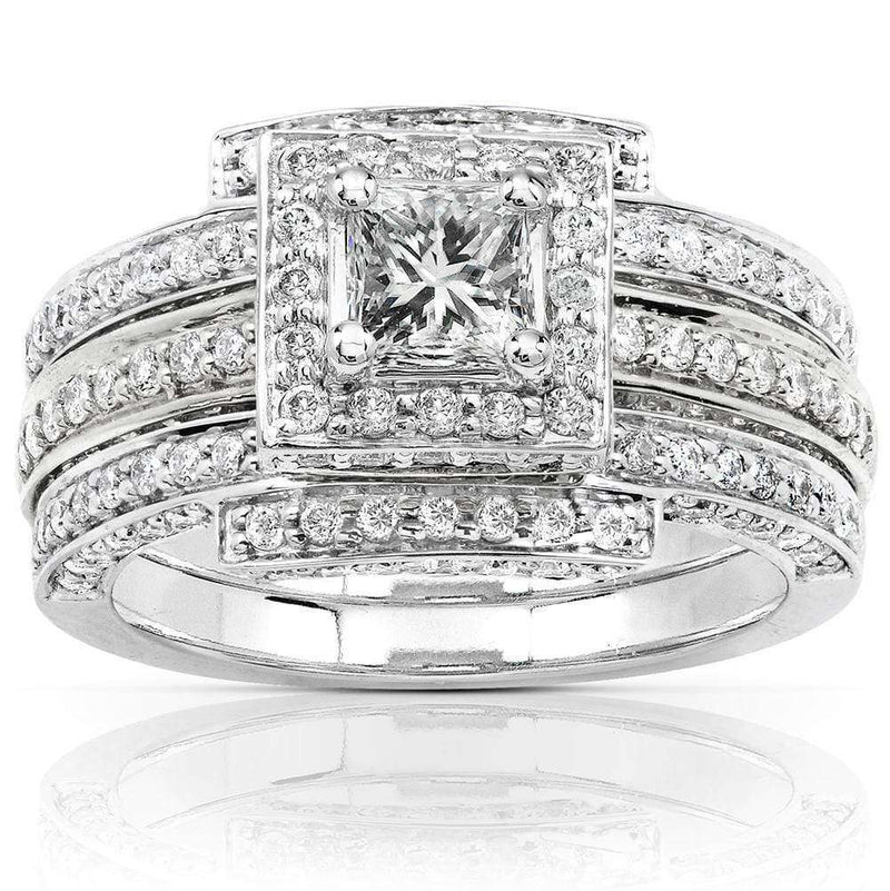 Kobelli Diamond 3 Ring Wedding Set 1 1/2 carat (ctw) in 14k White Gold