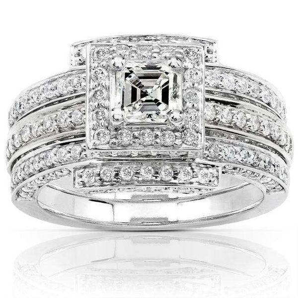 Kobelli Diamond 3-Rings Wedding Set 1 1/2 carat (ctw) in 14k White Gold