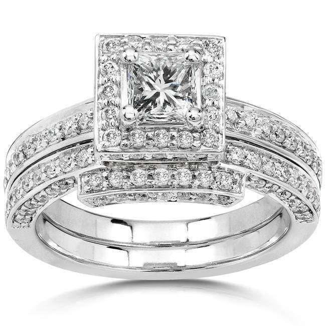 Kobelli Square Halo Diamond Wedding Rings Set 1 1/4 Carat (ctw) in 14K White Gold