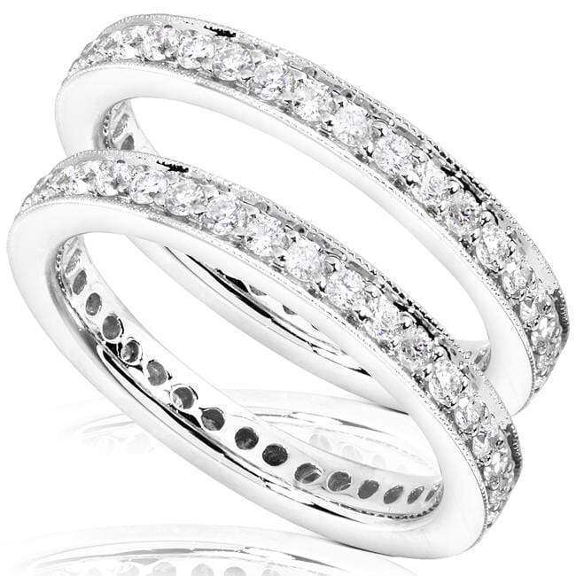 Kobelli Set of 2 Diamond Eternity Bands 1 carat (ctw) in 14k Gold