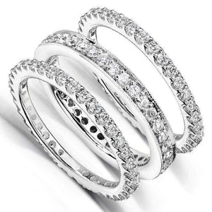 Kobelli Diamond Eternity Band 1 1/2 carat (ctw) in 14k White Gold (3 Piece Set)