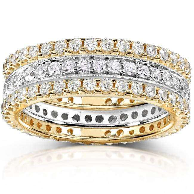Kobelli Diamond Eternity Band 1 1/2 carat (ctw) in 14k White and Yellow Gold (3 Piece Set)