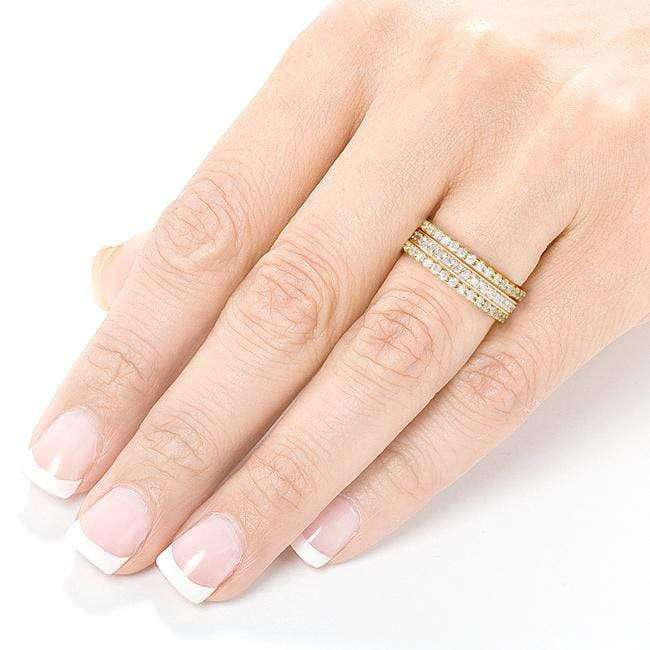Kobelli Diamond Eternity Band 1 1/2 carat (ctw) in 14k Yellow Gold (3 Piece Set)