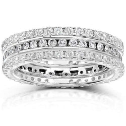 Kobelli Round Diamond 1 1/2 Carat (ctw) Stackable Eternity Bands in 14k White Gold (3 Piece Set)