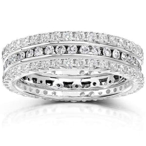 Round Diamond 1 1/2 Carat (ctw) Stackable Eternity Bands in 14k White Gold (3 Piece Set)